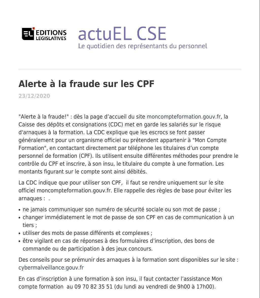 Alerte à la fraude sur les CPF