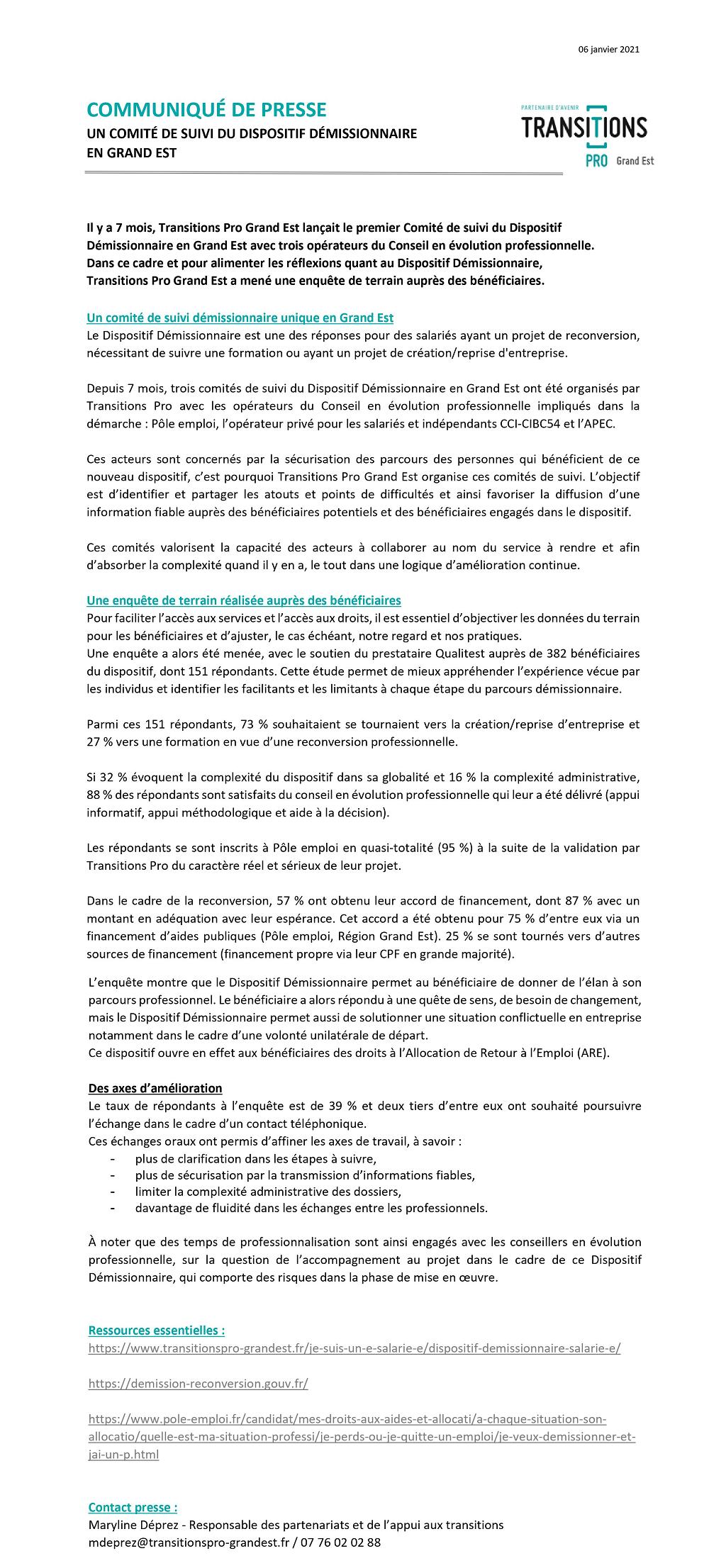 CP Dispositif Demissionnaire Transitions Pro Grand Est